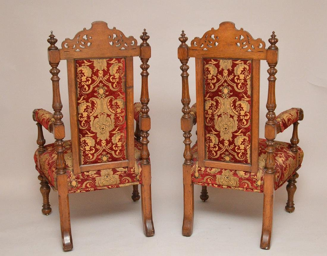 "Pair carved oak arm chairs, 51""h x 24""w - 2"