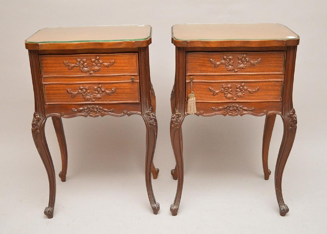 """Pair 2 drawer French style end tables, 29""""h x 18 1/4""""w"""