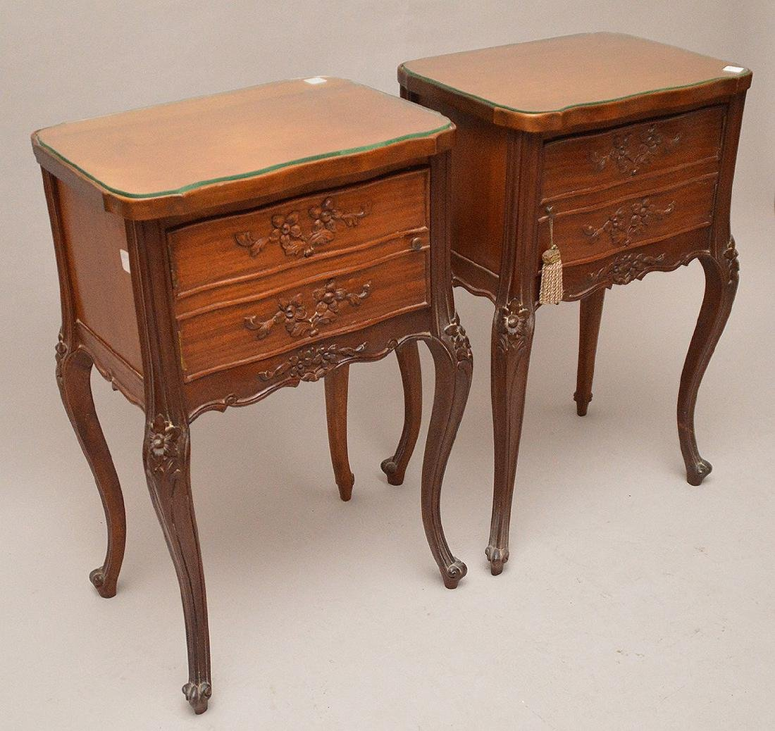 """Pair 2 drawer French style end tables, 29""""h x 18 1/4""""w - 2"""