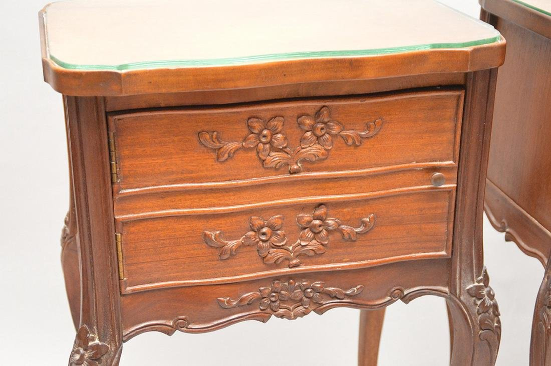 """Pair 2 drawer French style end tables, 29""""h x 18 1/4""""w - 3"""