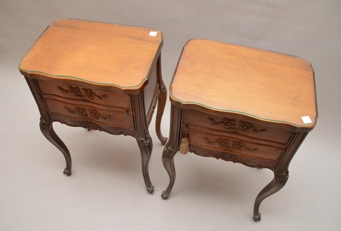 """Pair 2 drawer French style end tables, 29""""h x 18 1/4""""w - 4"""
