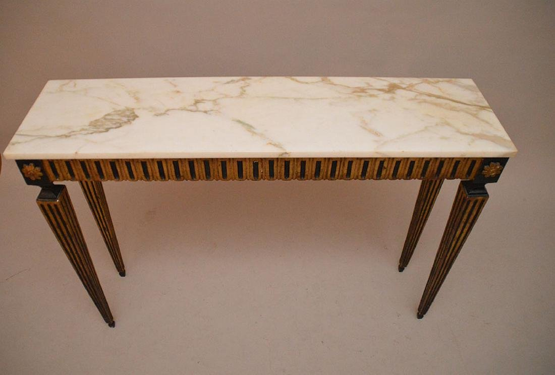 """Console with black & gold accents with marble top, 32""""h - 3"""