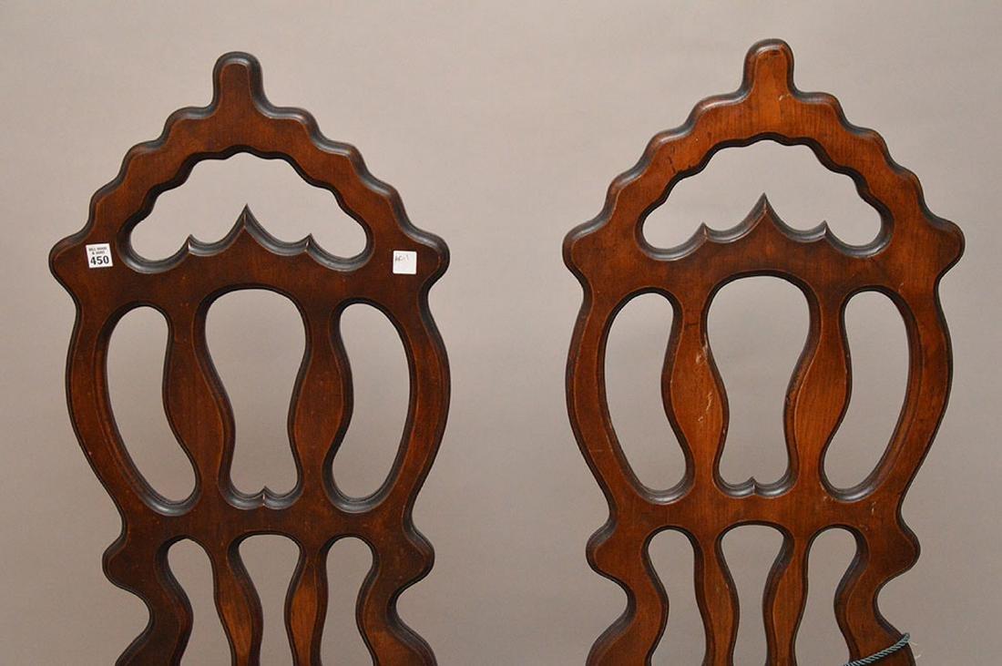 Pair pierced unusual dark wood chairs - 2