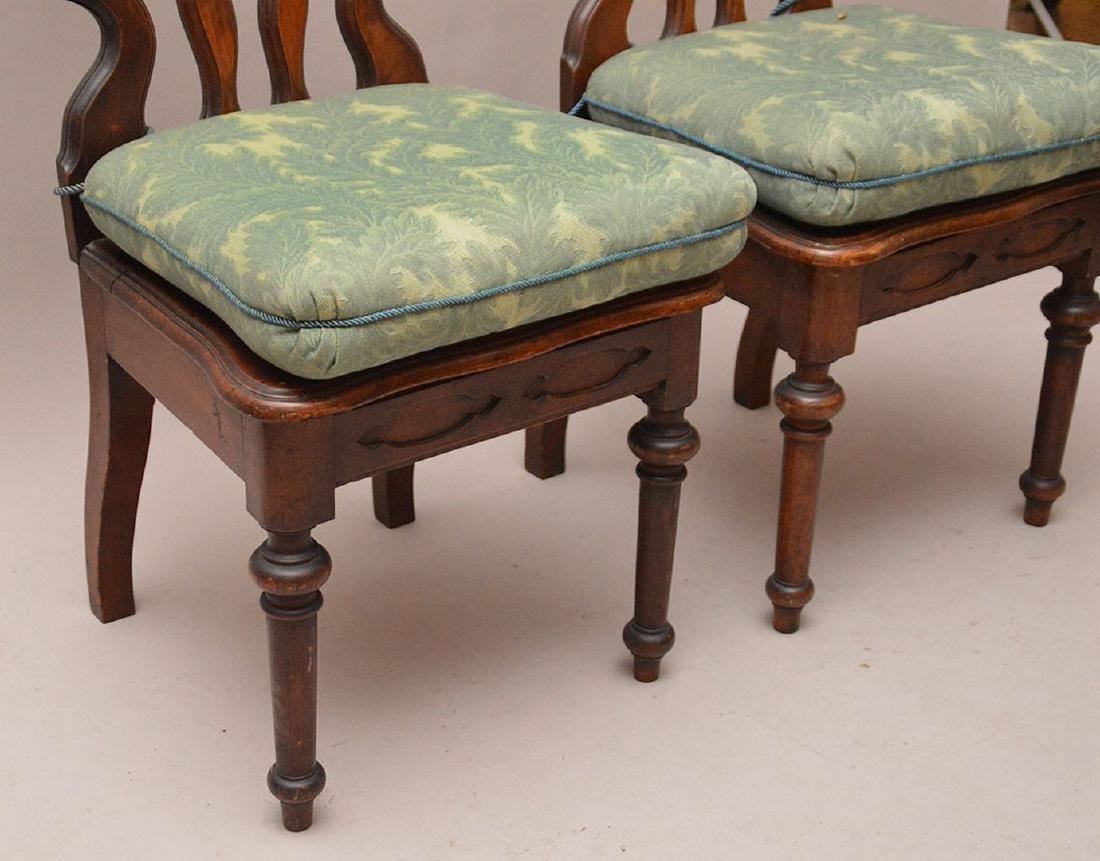 Pair pierced unusual dark wood chairs - 3