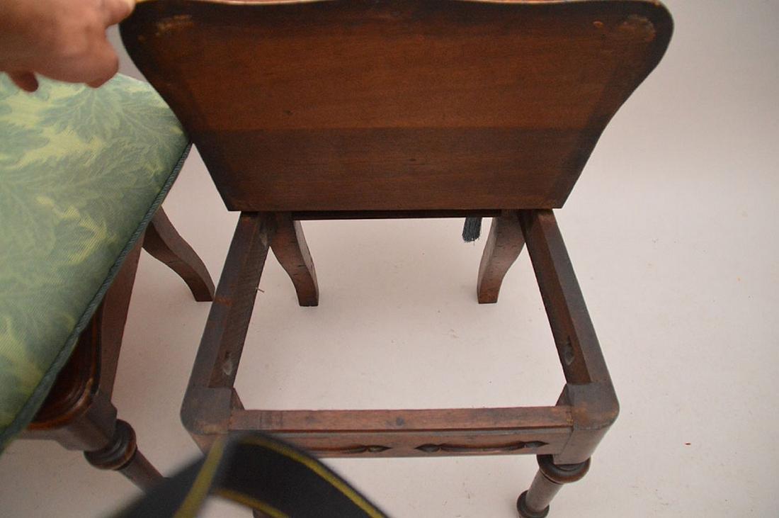 Pair pierced unusual dark wood chairs - 5