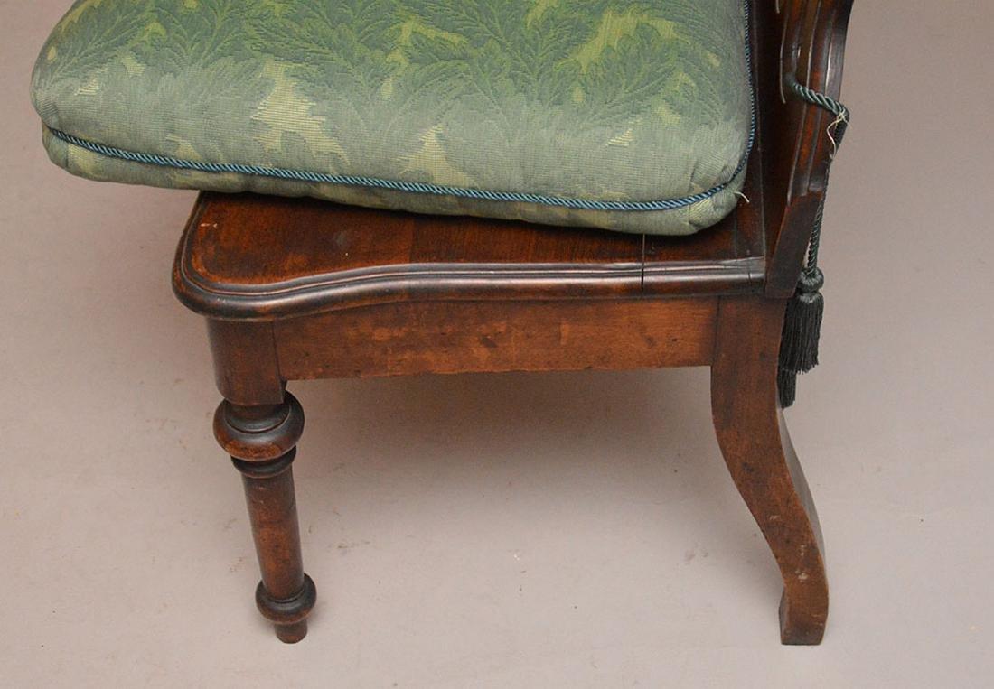 Pair pierced unusual dark wood chairs - 6