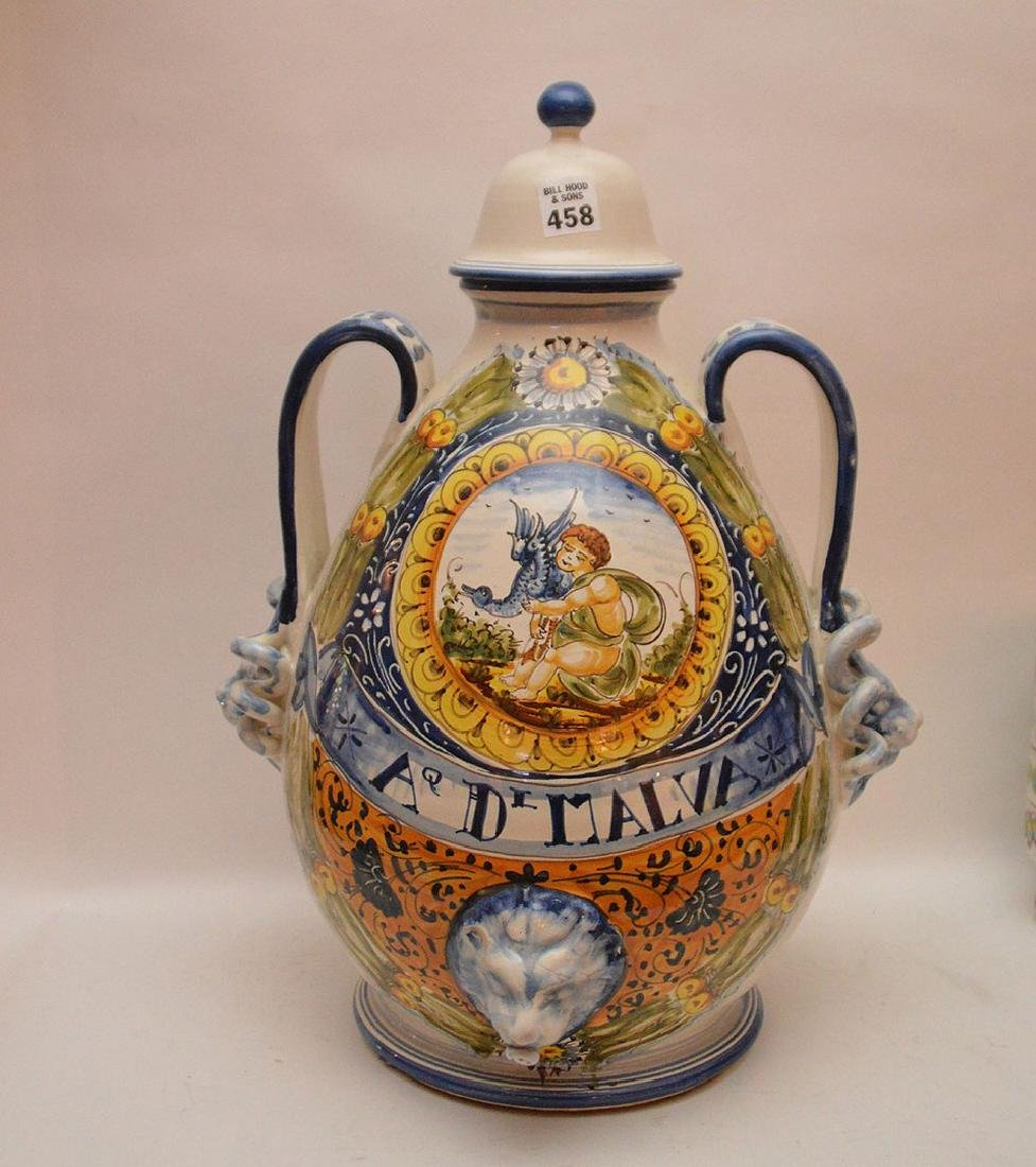 Italian pottery lidded jar