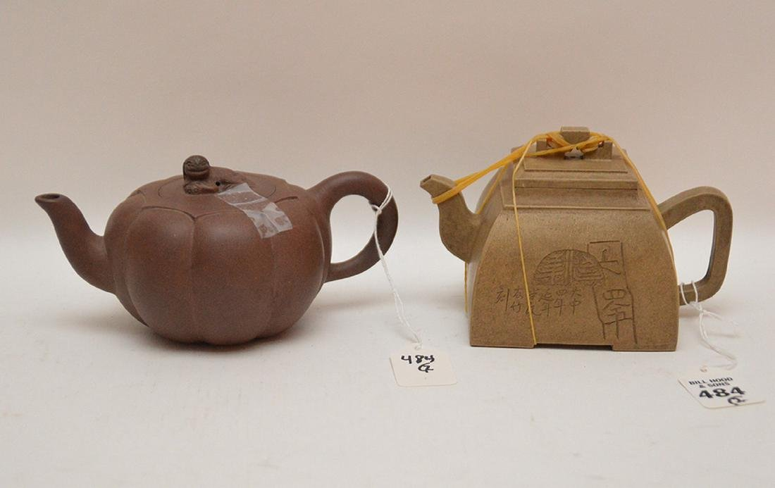 2 Chinese Yixing teapots, brown and reddish brown, 3