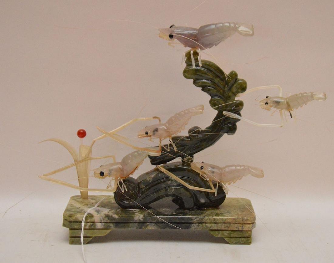 "Carved Jade & Multi-Stone Shrimp Group.  H. 9"""