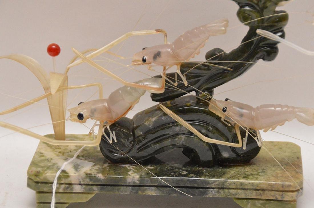 "Carved Jade & Multi-Stone Shrimp Group.  H. 9"" - 2"