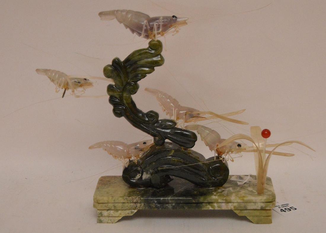 "Carved Jade & Multi-Stone Shrimp Group.  H. 9"" - 4"