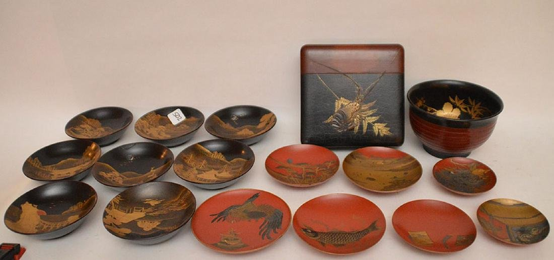 Lot of assorted lacquered bowls and one square box