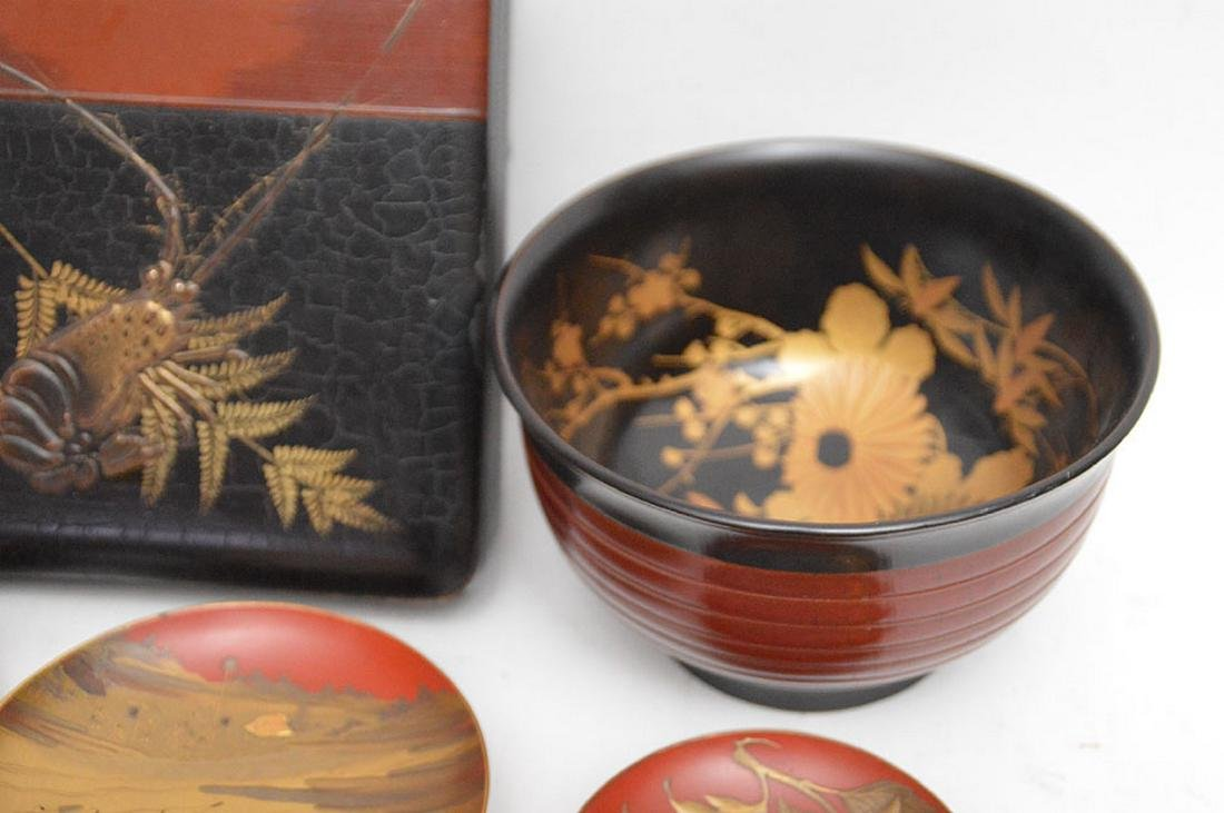 Lot of assorted lacquered bowls and one square box - 5