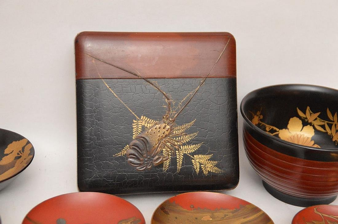 Lot of assorted lacquered bowls and one square box - 6