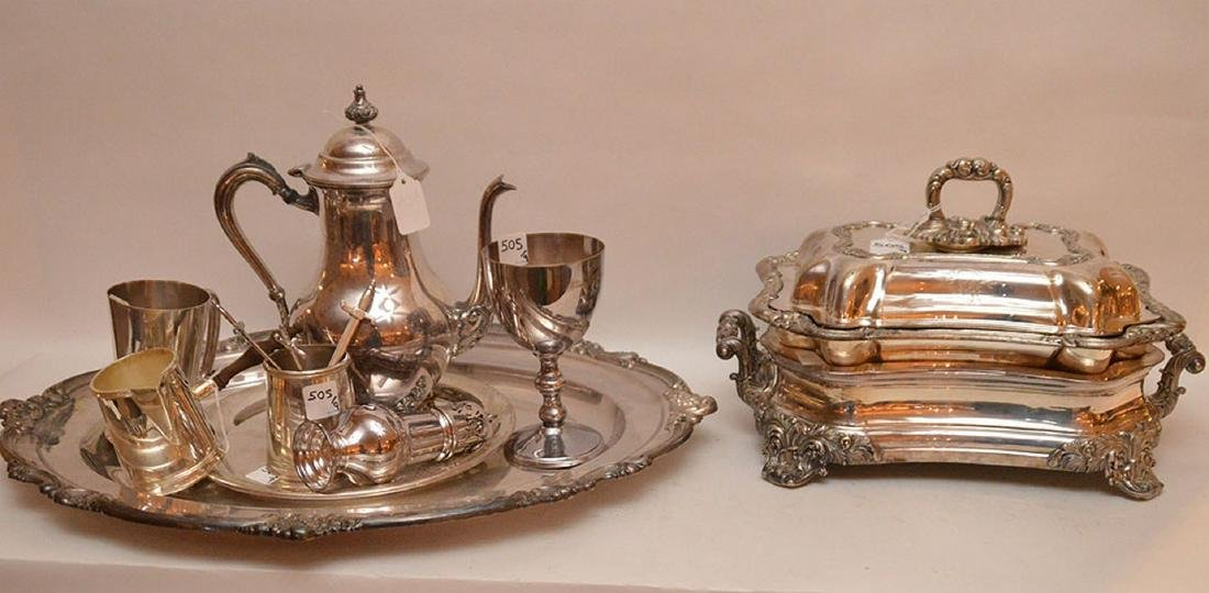 """Early Elaborate Silver Plated Tureen.  Ht. 9"""" W. 14""""."""