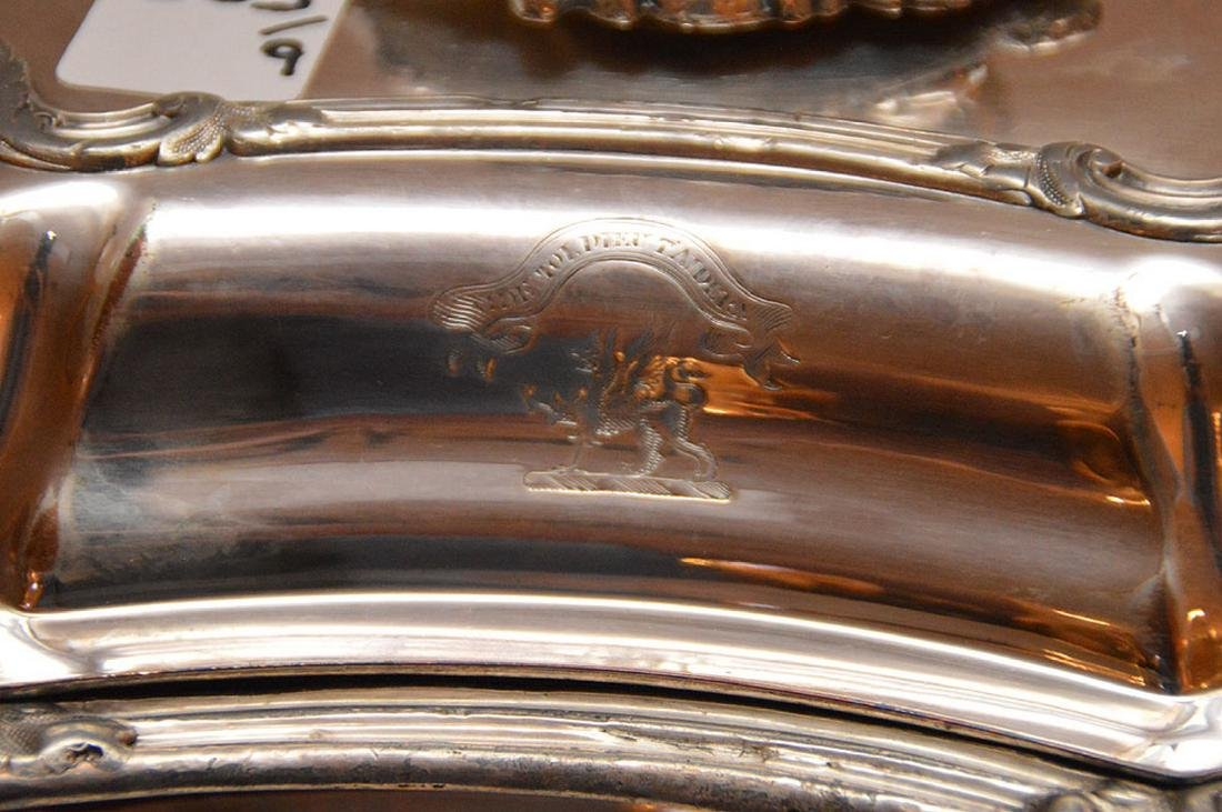 """Early Elaborate Silver Plated Tureen.  Ht. 9"""" W. 14"""". - 2"""