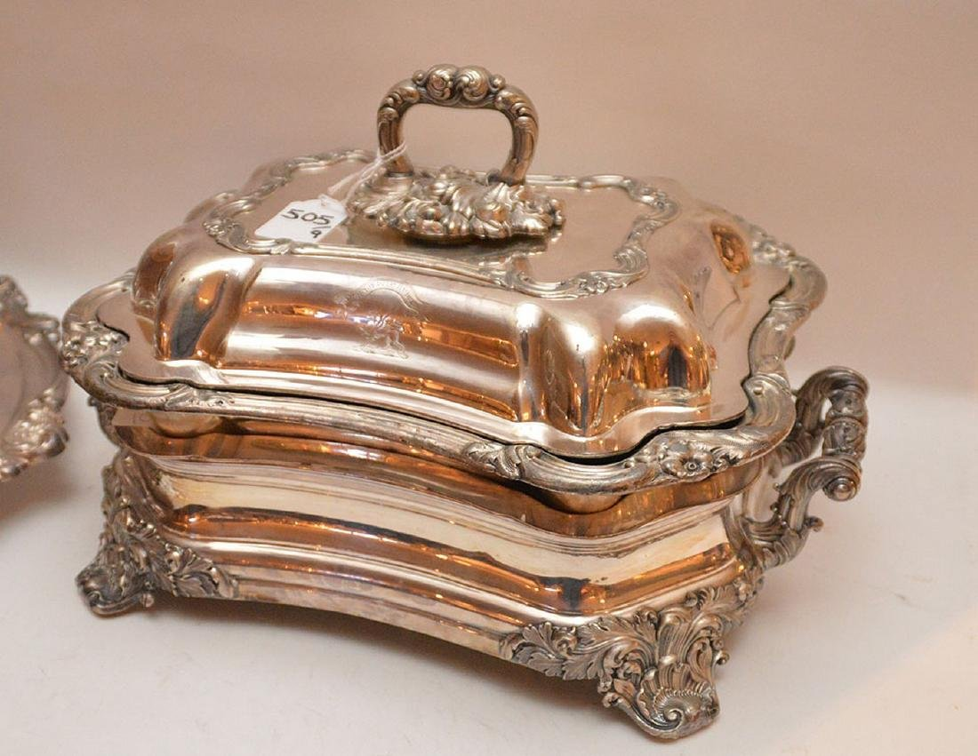"""Early Elaborate Silver Plated Tureen.  Ht. 9"""" W. 14"""". - 3"""