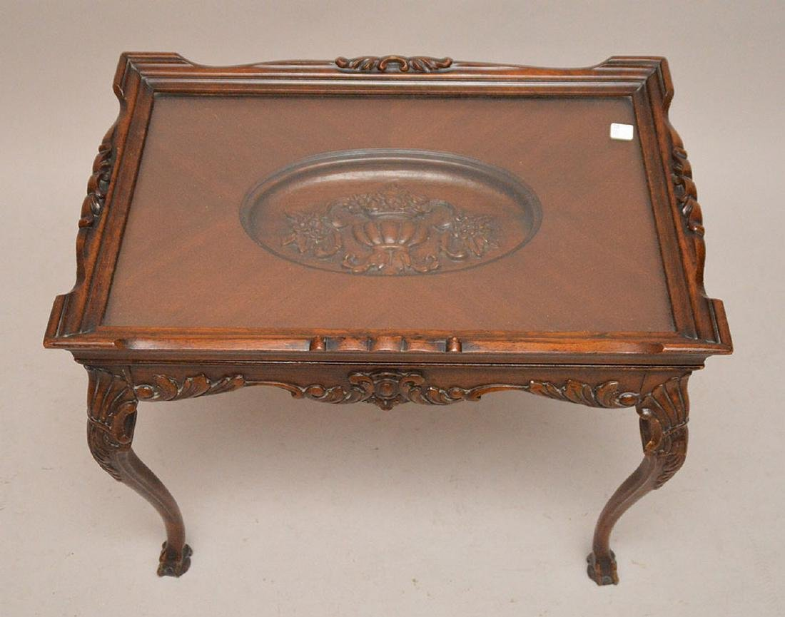 Coffee table, carved oval recessed center on Queen Ann - 2