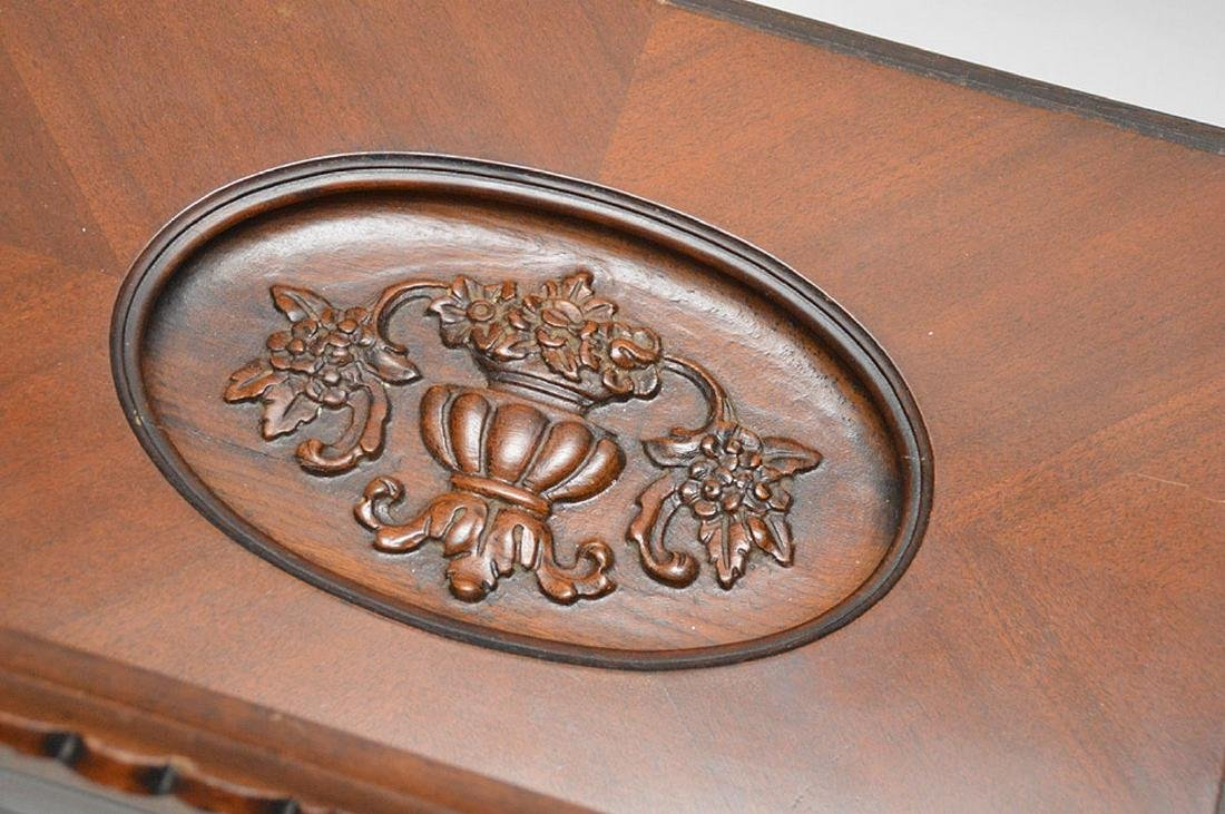 Coffee table, carved oval recessed center on Queen Ann - 5