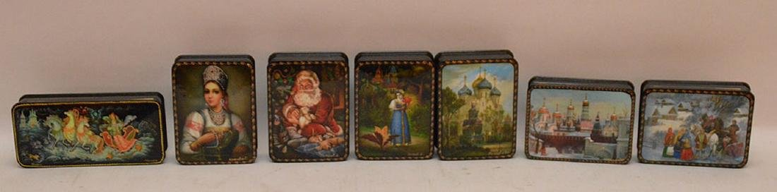 Lot 7 Assorted Russian Painted Lacquer Boxes. 6 Boxes 4