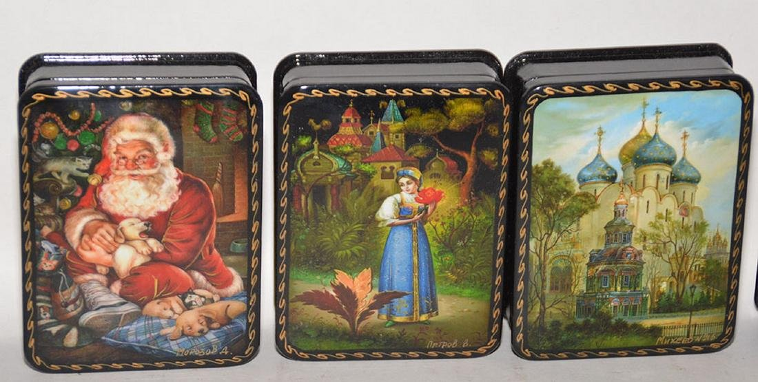 Lot 7 Assorted Russian Painted Lacquer Boxes. 6 Boxes 4 - 3