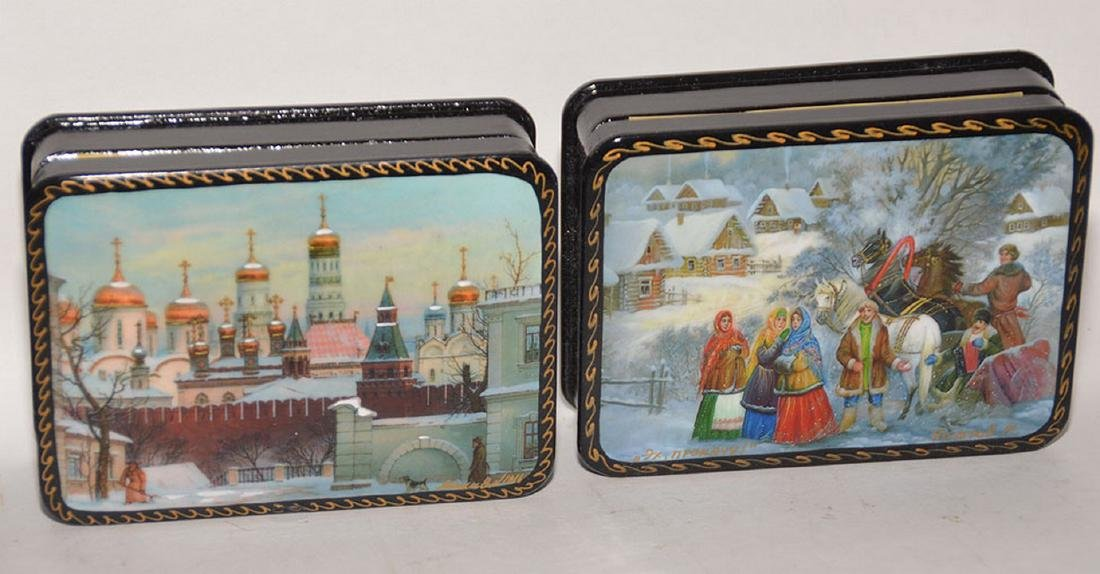 Lot 7 Assorted Russian Painted Lacquer Boxes. 6 Boxes 4 - 4