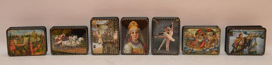 Lot 7 Assorted Russian Painted Lacquer Boxes.  Each Box