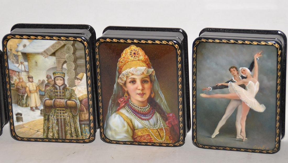 Lot 7 Assorted Russian Painted Lacquer Boxes.  Each Box - 2