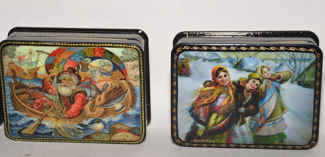 Lot 7 Assorted Russian Painted Lacquer Boxes.  Each Box - 3