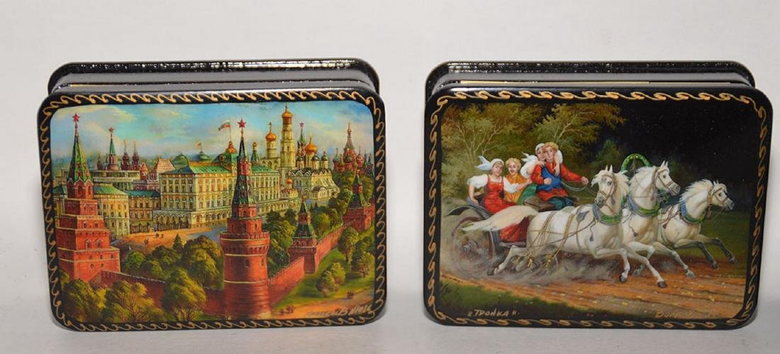 Lot 7 Assorted Russian Painted Lacquer Boxes.  Each Box - 4