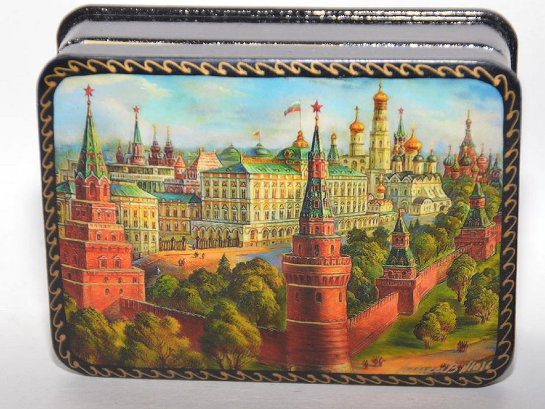 Lot 7 Assorted Russian Painted Lacquer Boxes.  Each Box - 5