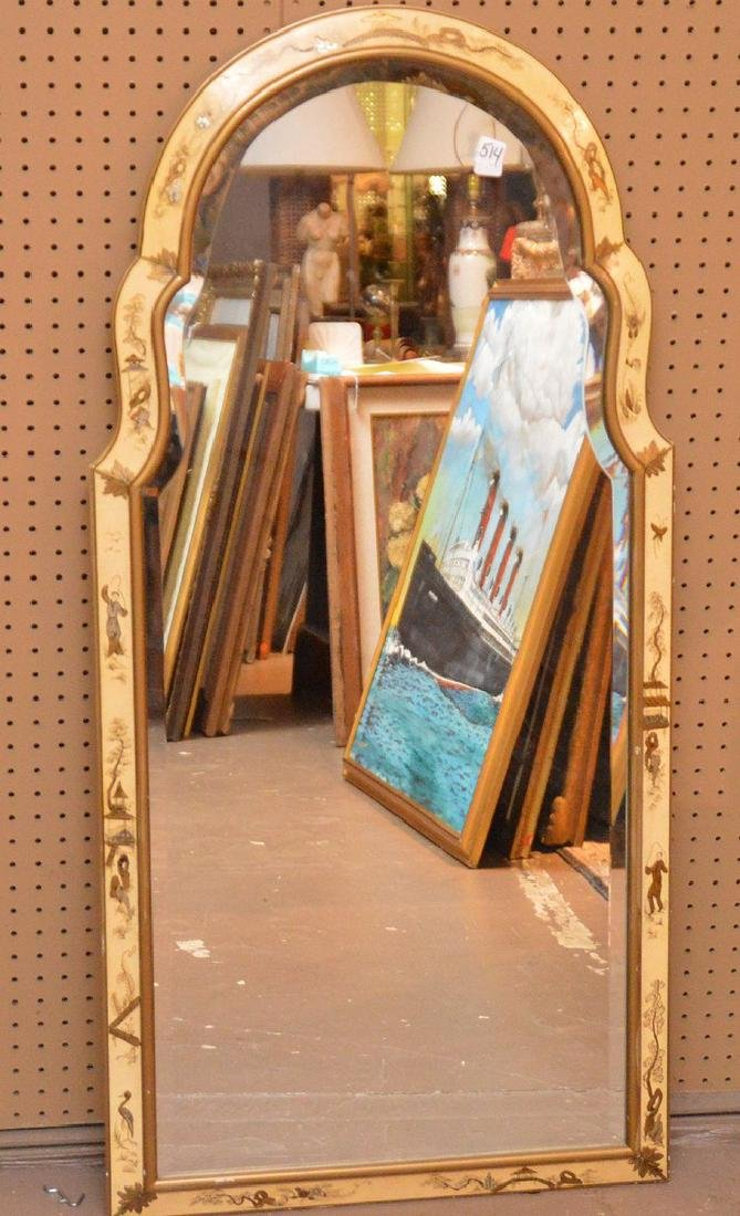 Beveled mirror, Chinese decorated frame, tombstone form