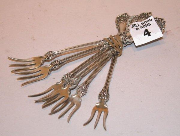 4: 6 Sterling silver pickle forks, 2 3/4 oz, J. Boland,