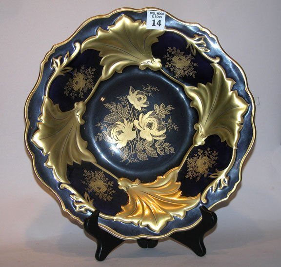 "14: Large German ""Weimar"" plate, ornately decorated, bl"