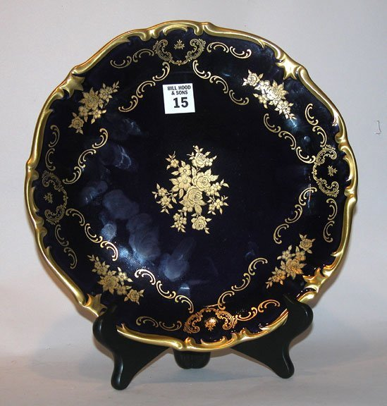 15: German plate, cobalt blue, ornately decorated,  mar