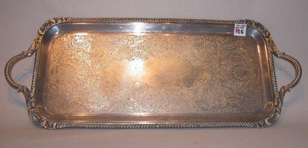 16: 3 highly decorated silverplate platters, all have h