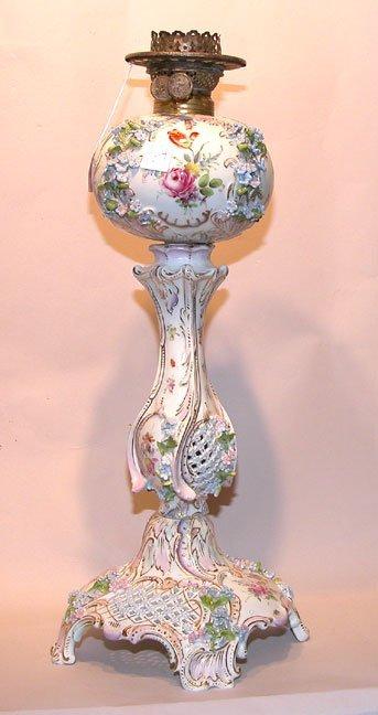 """17: 19th century German porcelain banquet lamp, 23""""h"""