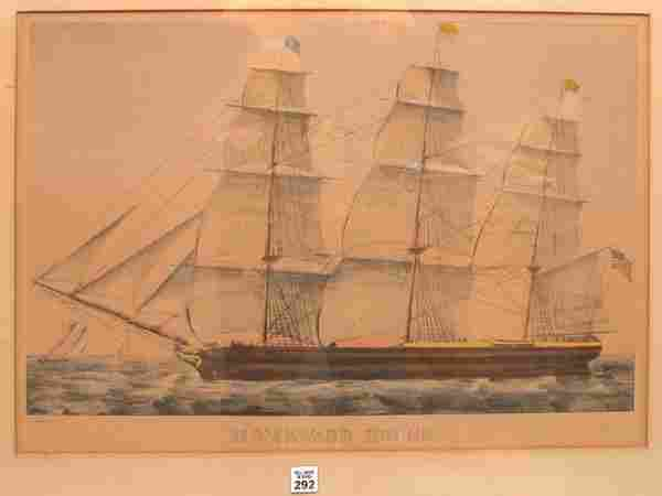 """292: Currier and Ives, """"Homeward Bound"""", clipper ship a"""
