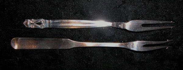 4A: 2 Georg Jensen Denmark sterling olive / pickle fork