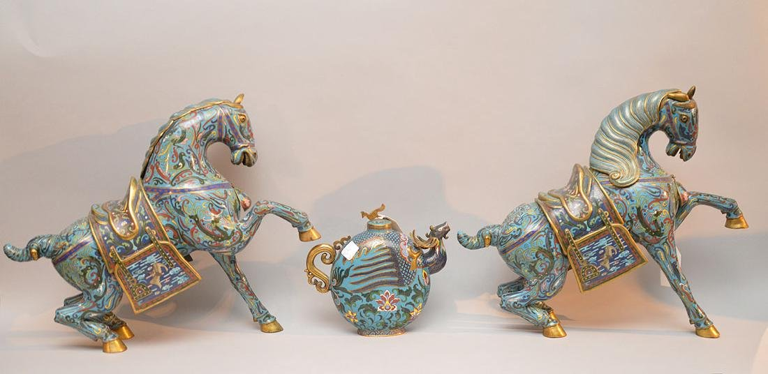 """Pair blue cloisonné rearing horses, (6""""h x 19""""w) AND"""