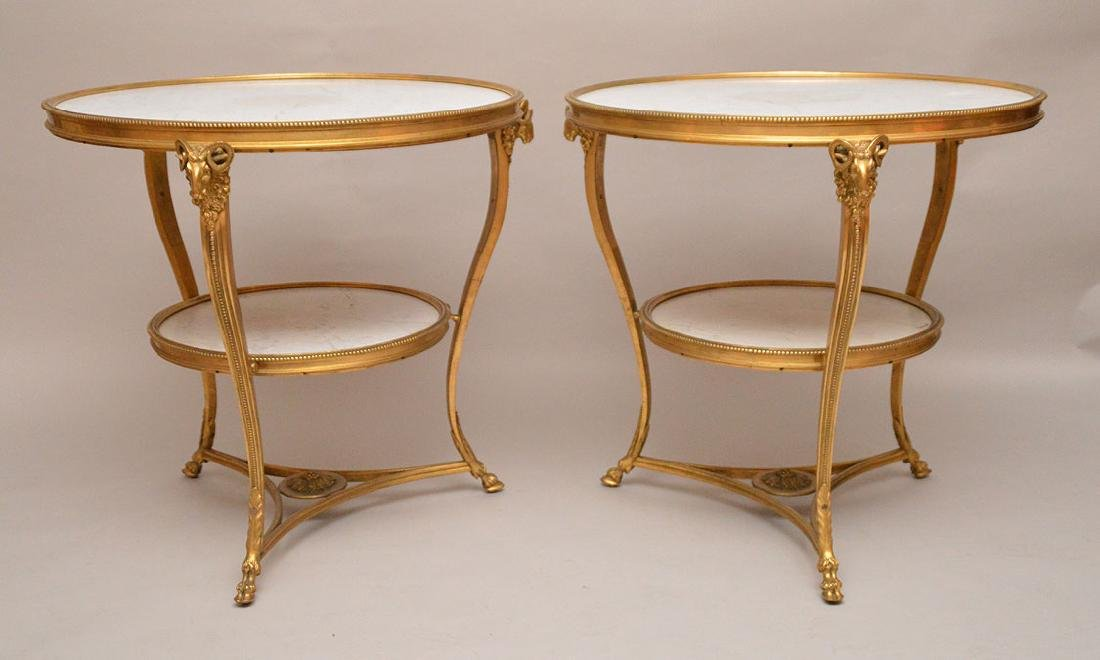Pair 19th Century French bronze gueridon tables with