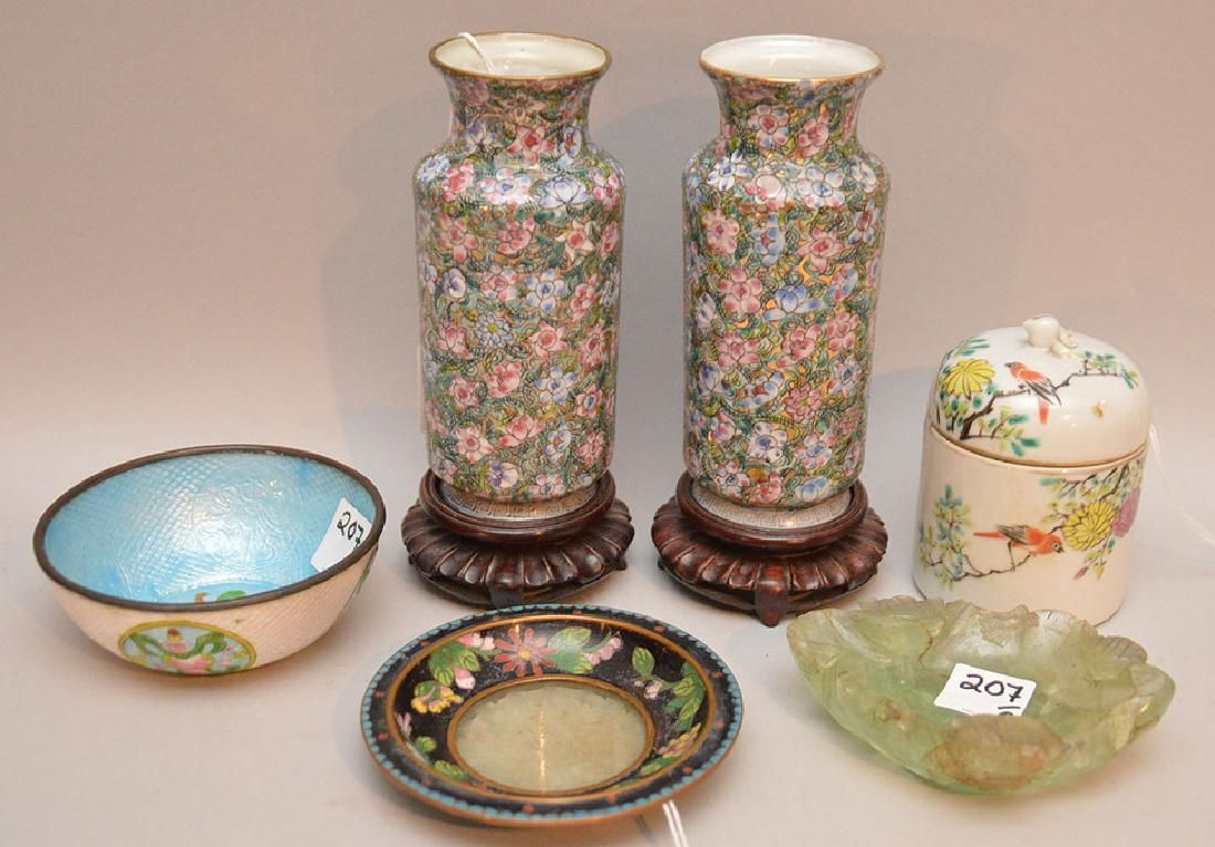 Lot 6 Antique Chinese Items. Pair Porcelain Vases on