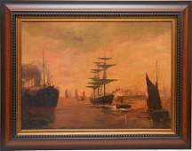 19th century Sunset ships at Port, oil on