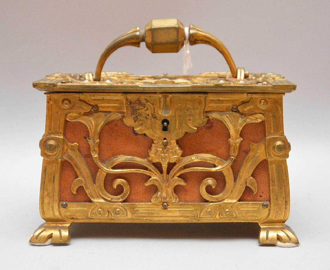 Art Nouveau Gilt Bronze & Leather Box with hinged top.