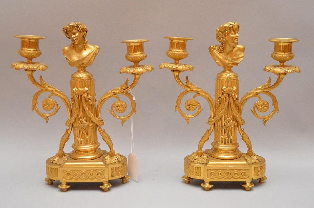 Pair Gilt Bronze Figural Candlesticks.  Each marked