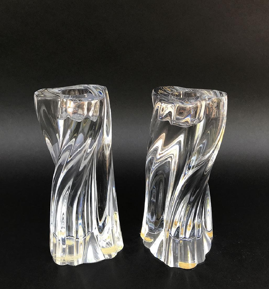 Pair Baccarat Crystal Candlesticks H. 6 1/2""