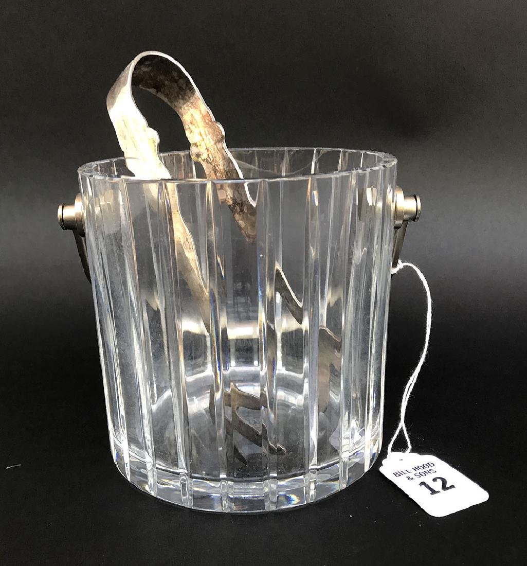 Baccarat Crystal Ice Bucket  with silver plated tongs.