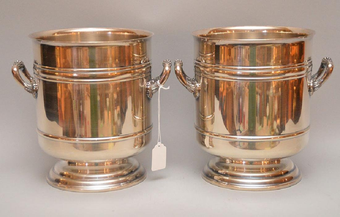 Pair of Matching Christofle France ice buckets with