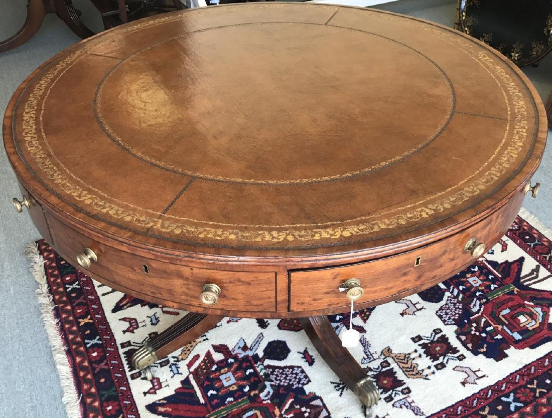 """19th c. English leather top drum table, 30""""h x 48""""dia"""