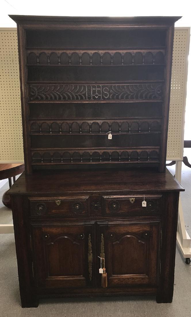 """Breton chestnut dresser, French, circa 1800, 84""""h x"""